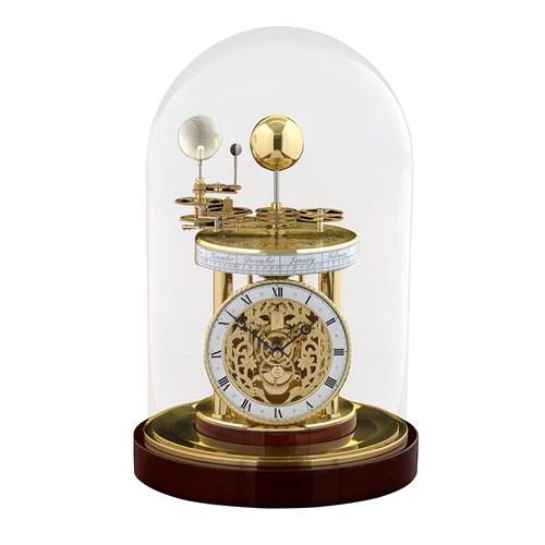 Astrolabium Brass Clock I, Mahogany Finish