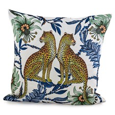 Lovebird Leopards on Silk Pillow, Tanzanite