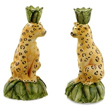 Leopard Candlesticks, Pair
