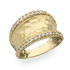 18k Yellow Gold Hammered Channel Diamond Ring