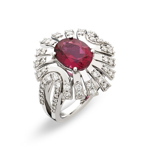 18k White Gold Rubelite & Diamond Ring