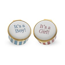 "Halcyon Days ""It's a Boy"" / ""It's a Girl"" Round Enamel Box"