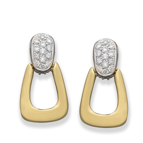 18K Yellow and White Gold Door Knocker Earrings