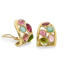 18k Gold Mosaic Tourmaline Diamond Earrings