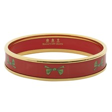 Halcyon Days Green Bow on Red Bangle