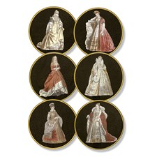 Historic Costumes Round Black Tablemats