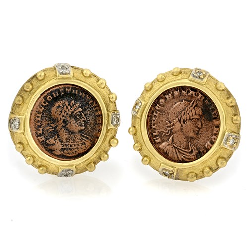 18k Yellow Gold Constantine Coin Earrings