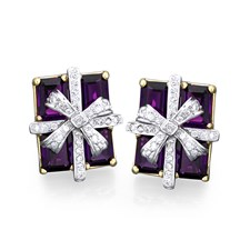 18k Yellow & White Gold Amethyst Package Earrings