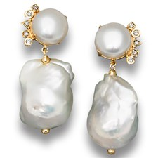 18k Gold Cleo Baroque Pearl Fan Earrings