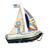 Challenger Sailboat Limoges Box