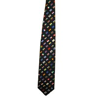 Navy Silk Tie with World Flags