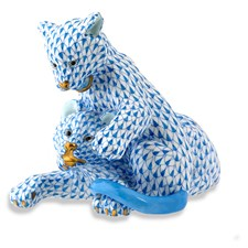 Herend Pair of Lion Cubs Figurine, Blue
