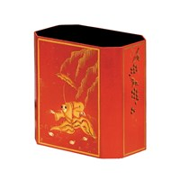 Chinoiserie Wastebasket Red