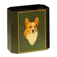 Handpainted Wastebasket with Corgi