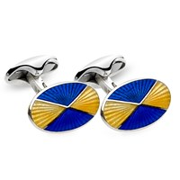 Yellow & Royal Blue Quartered Cufflinks
