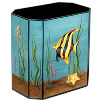 Handpainted Wastebasket Aquarium