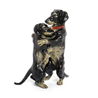 Austrian Bronze Dachshunds Embracing Figurine