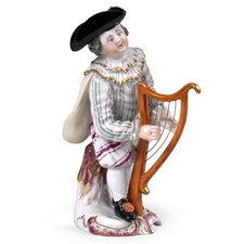 Porcelain Boy with Harp Figurine