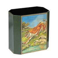 Handpainted Wastebasket Tiger