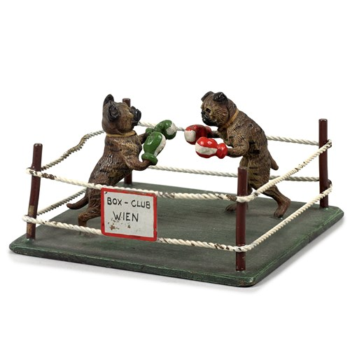 Austrian Bronze English Bulldogs Boxing Figurine
