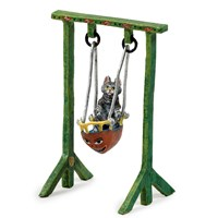 Austrian Bronze Cat on Swing