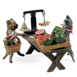 Austrian Bronze Cat Selling Fruit to Dog