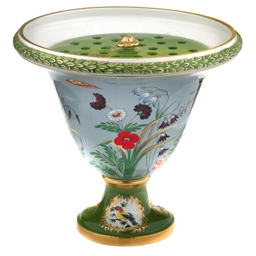 Green Floral Urn with Birds