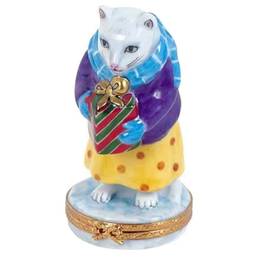 Christmas Cat Bearing Gifts Limoges Box