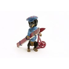 Austrian Bronze Dachshund with Skis Figurine