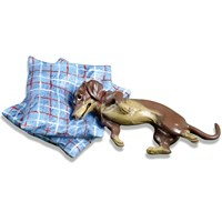 Austrian Bronze Dachshund on Two Pillows Figurine