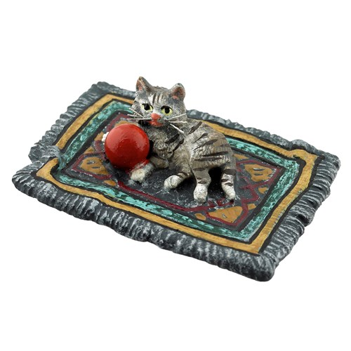 Austrian Bronze Cat on Rug Figurine