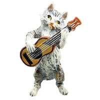 Austrian Bronze Cat Playing Guitar Figurine