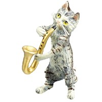Austrian Bronze Cat Playing Saxophone Figurine