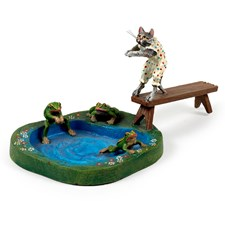 Austrian Bronze Cat with Pond and Frogs