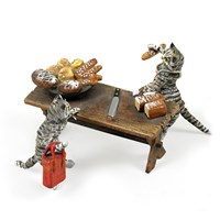 Austrian Bronze Cats with Bread Figurine