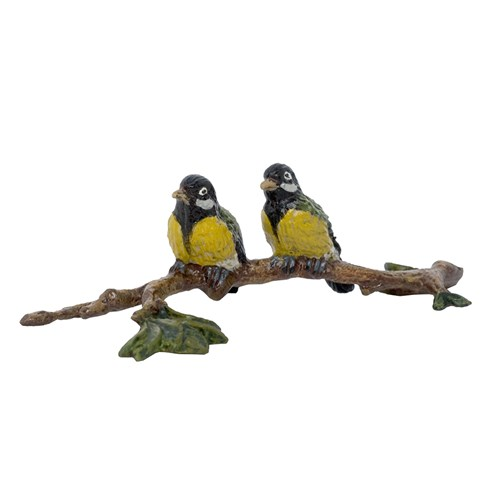 Austrian Bronze Birds on Branch Figurine