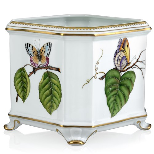 Anna Weatherley Floral Butterfly Square Cachepot, Large