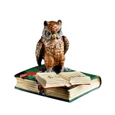 Austrian Bronze Owl with Two Books Figurine