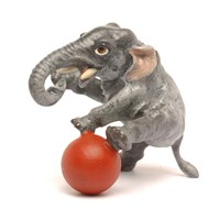 Austrian Bronze Elephant with Red Ball Figurine