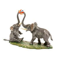 Austrian Bronze Elephants Playing Ball Figurine