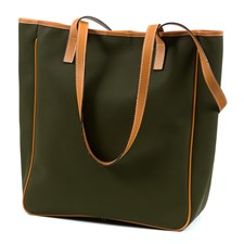Green Shopper Bag with Tan Lining