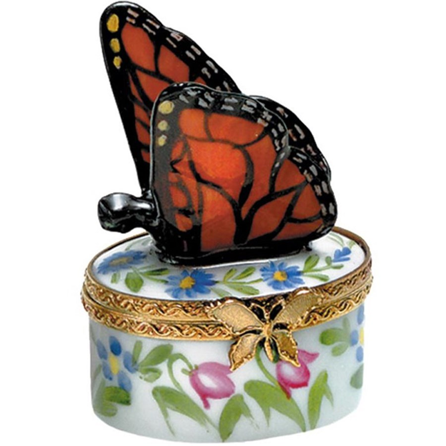 mini orange butterfly box limoges boxes handpainted porcelain collectibles. Black Bedroom Furniture Sets. Home Design Ideas
