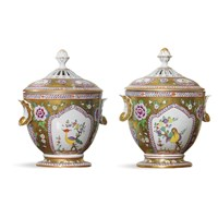 Pair of Dresden Gold Covered Urns