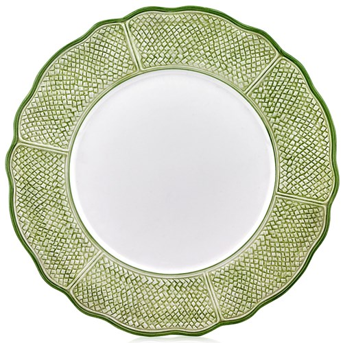 Green & White Charger Plate