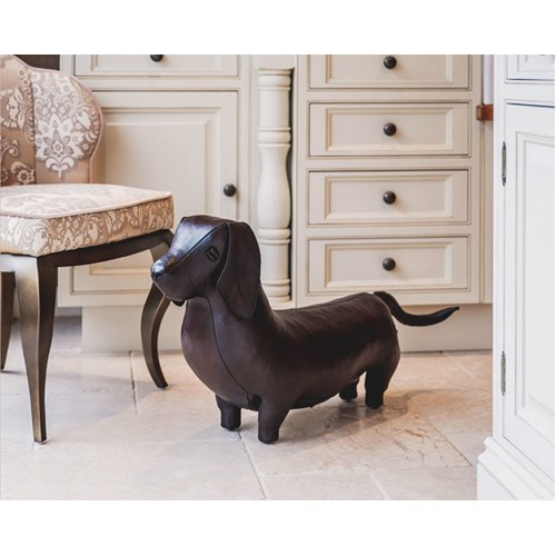 Dachshund Leather Footstool
