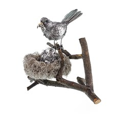 Sterling Silver Bird Feeding Babies in Nest