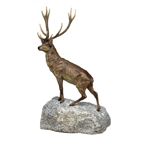 Austrian Bronze Stag on Rock
