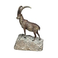 Austrian Bronze Capricorn On Rock