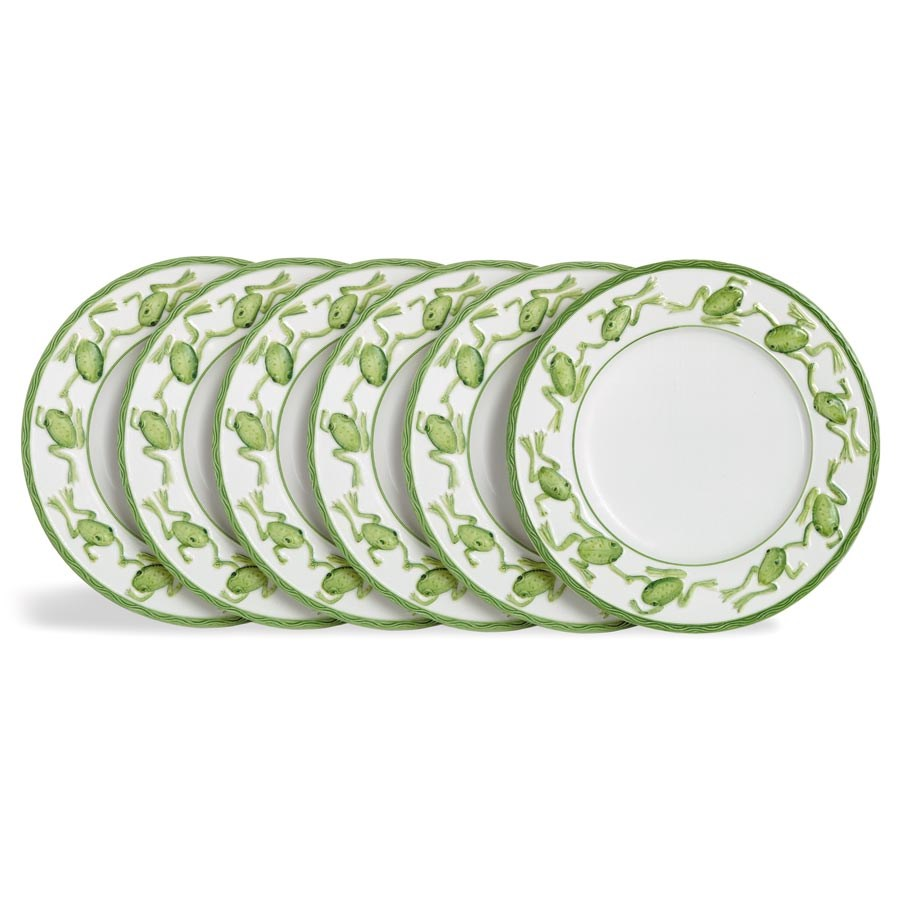 Hover to zoom  sc 1 st  Scully \u0026 Scully & Green Frog Salad Dessert Plates Set of Six | More China | China ...