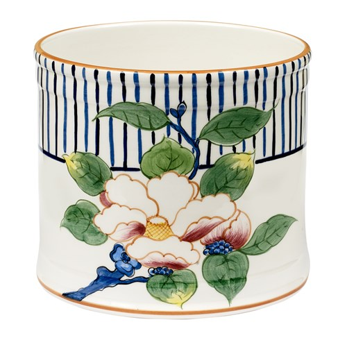 Cachepot with Blue Stripes & Magnolias
